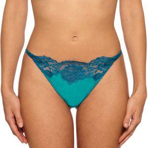 Seide String Adriana türkis mit blauer Spitze von Millesia