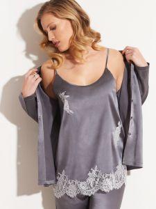 Seidentop dunkelgrau mit silberner Spitze - der Pyjama ist nicht im Lieferumfang enthalten