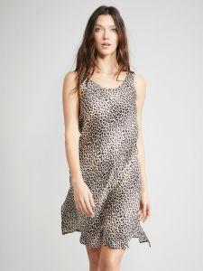 Nachthemd 100% Seide Leopard Animal Print mit breitem Träger von Eva B. Bitzer