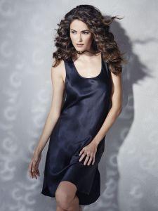 Unterkleid 100% Seide schwarz mit breitem Träger von Eva B. Bitzer