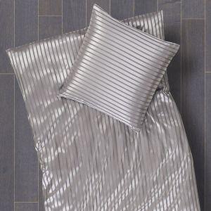 Gestreifte Seidenbettwäsche Limba Platin Streifen- Satin von Cellini Design