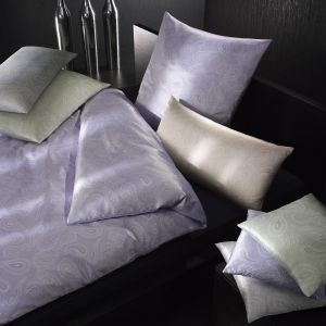 100% Seide Kissenbezug Vienne Paisley flieder, creme, mint oder silber-blau von Elegante