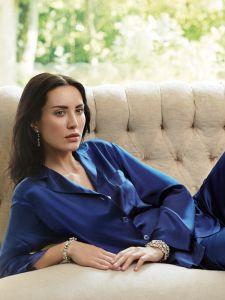 Damen Seidenpyjama nachtblau / marine dunkelblau Classico von Luna di Seta