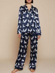 100% Seide Schlafanzug Elisabetha Aves dunkelblau von Radice
