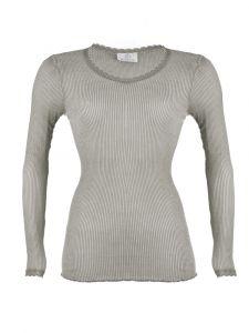 Wolle-Seide Langarmshirt Breeze M/L hellgrau von Madiva Eco Future