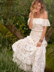 Sommerkleid aus Baumwolle Lochspitze Gladys naturweiß von Marjolaine