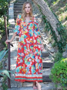 Maxi-Sommerkleid mit Schmetterlinge Muster rot von Chiara Fiorini