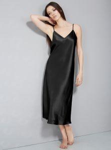 Nachtkleid lang aus Stretchseide schwarz Sloane Street exclusiv von Eva B. Bitzer