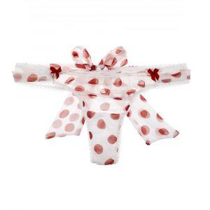 Chiffon-Seide String Call Me weiß mit roten Punkten von Mimi Holliday