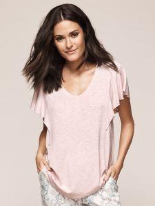 Kurzarm Shirt rosa meliert aus Viscose von Triumph - die Hose ist nicht im Lieferumfang enthalten