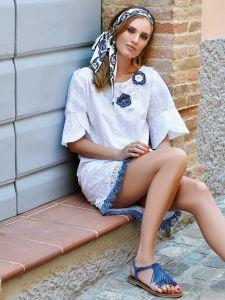 Sommerkleid Fiori weiß blau von Chiara Fiorini