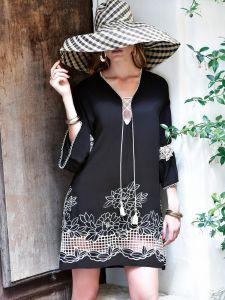 Tunika Sommerkleid mit Hohlsaum Stickerei schwarz von Chiara Fiorini