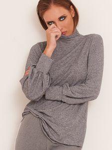 Wolle Viscose Rollkragen-Shirt MELANGE grau von Chiara Fiorini