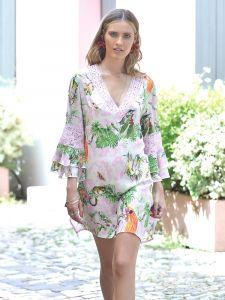 Viscose Tunika Colibri Rosa Grün von Chiara Fiorini