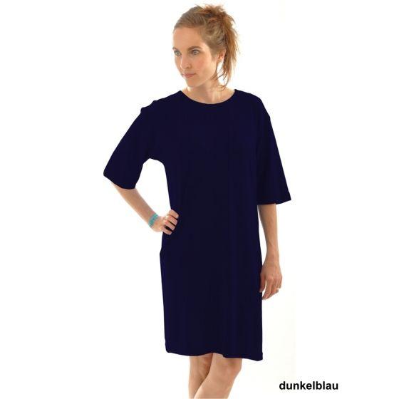 Bigshirt Sleepshirt aus 100% Bourette Seide von Alkena in dunkelblau