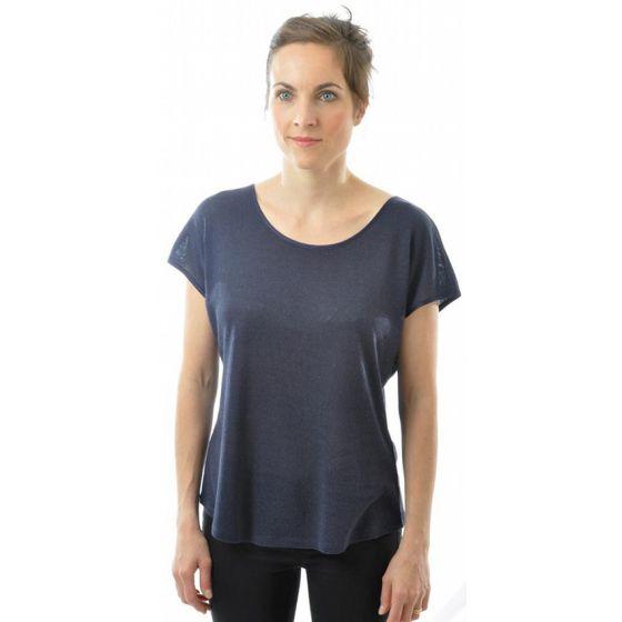 Bourette-Seide T-Shirt dunkelblau von Alkena