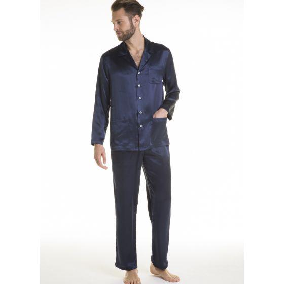 Herren Schlafanzug Pura Seta dunkelblau unito von Verdiani
