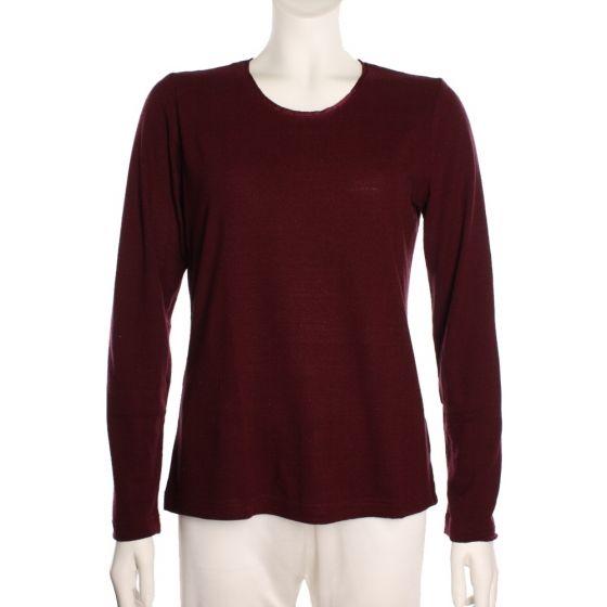 100% Bouretteseide Shirt bordeaux mit langen Ärmeln von Kokon Zwo