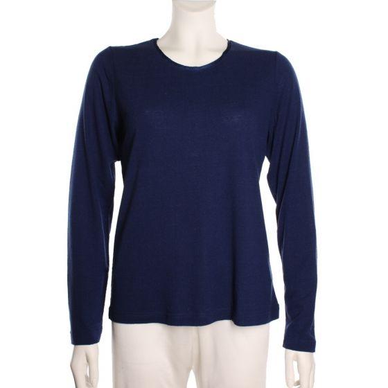 100% Bouretteseide Shirt mitternachtsblau mit langen Ärmeln von Kokon Zwo