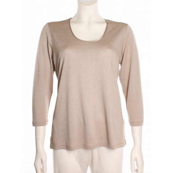 Seidenshirt Cinda 3/4-Arm Shirt Seide Leinen in taupe ohne Muster von Kokon Zwo