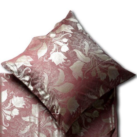 Seide Baumwolle Kissenbezug Rosaria Rusty Red (Rückseite OHNE Muster!)