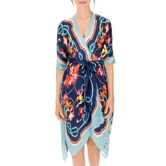 Seide Kimono blau bunt Mediterranean Gardens von Luna di Seta