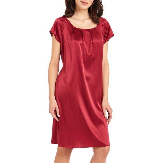 Nachtkleid aus Stretchseide Seduzione di Seta in rubin rot von Gattina