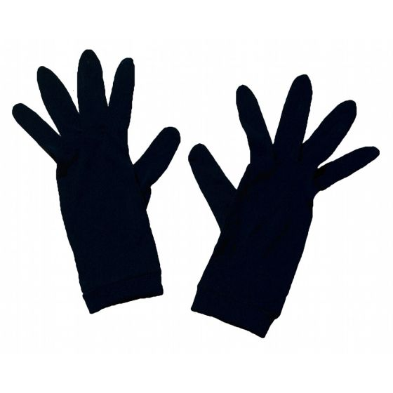 Feinjersey Handschuhe aus 100% Seide in der Farbe schwarz