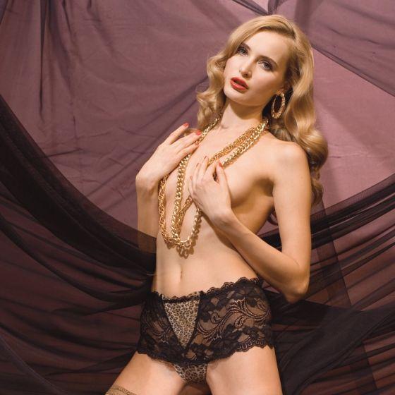 Spitzen-Shorts Eros schwarz mit Leopard-Print von Trasparenze