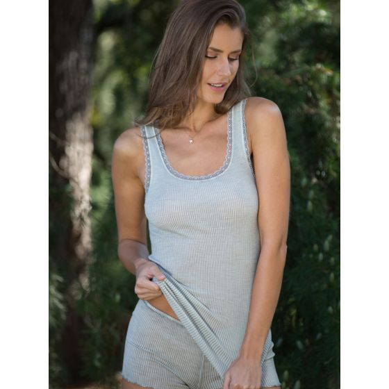 Wolle-Seide Unterhemd Breeze S/L hellgrau von Madiva Eco Future
