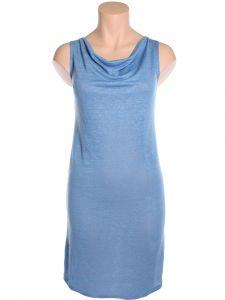 Leinen Seide Sommerkleid taubenblau mit Wasserfallausschnitt von Alkena