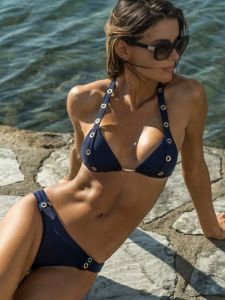 Triangel Bikini Belt Eyes Navy dunkelblau von Eniqua