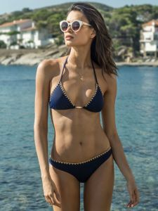 Triangel Bikini Blue Clamps dunkelblau gold von Eniqua
