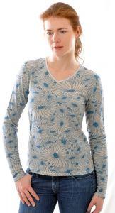 100% Bouretteseide Langarm Shirt mit V-Ausschnitt mit Blumendruck grau blau