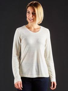 100% Bouretteseide Shirt naturweiß mit langen Ärmeln von Kokon Zwo
