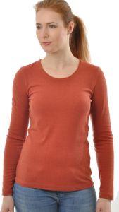 Rundhals-Shirt Langarm Bouretteseide ziegel rot von Alkena Seide