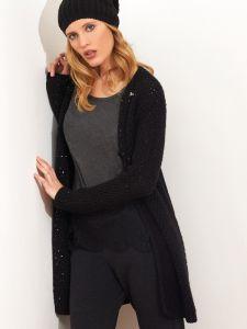 Wolle mit Pailletten lange Strickjacke schwarz von Chiara Fiorini - das Shirt ist nicht im Lieferumfang enthalten
