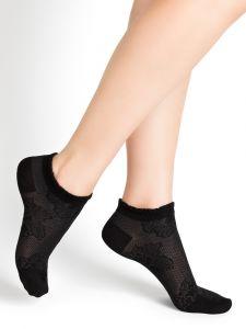 Damen Sneaker Socken mit Blumenmuster aus 74% Seide in schwarz von Bleuforêt