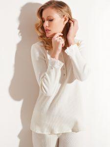 Schlafanzug Kuschel Cotton creme-weiß 2 tlg. von Chiara Fiorini