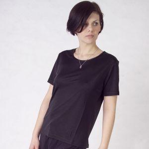 T-Shirt Seide Jersey Gattina Moyenne schwarz