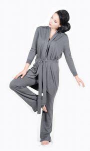 Morgenmantel Pashmina Kaschmir-Seide in grau - die Hose ist separat erhältlich