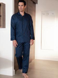 Herren Schlafanzug Kai aus Baumwoll-Satin marine