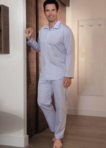 Herren Schlafanzug Ben aus zartblauem Baumwollsatin