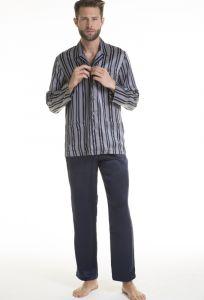 Herren Schlafanzug Pura Seta blau mit Streifen von Verdiani