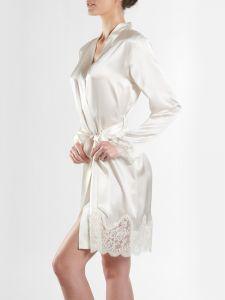 100% Seide Kimono Soie d´Amour perlmutt naturweiß von Aubade