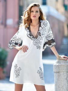 Sommerkleid mit Hohlsaum Stickerei weiß von Chiara Fiorini