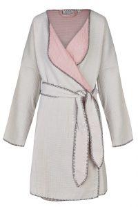 Morgenmantel aus Baumwolle in hellgrau rosa von Ringella