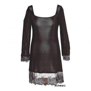 Sleepshirt Pure de Luxe aus Seidenjersey mit Spitze von Gattina schwarz