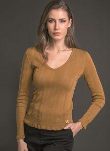 Langarm Shirt breite Rippe cognac braun aus Wolle Seide Merino von Artimaglia