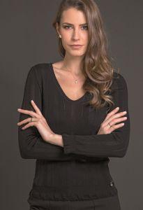 Langarm Shirt breite Rippe schwarz aus Wolle Seide Merino von Artimaglia